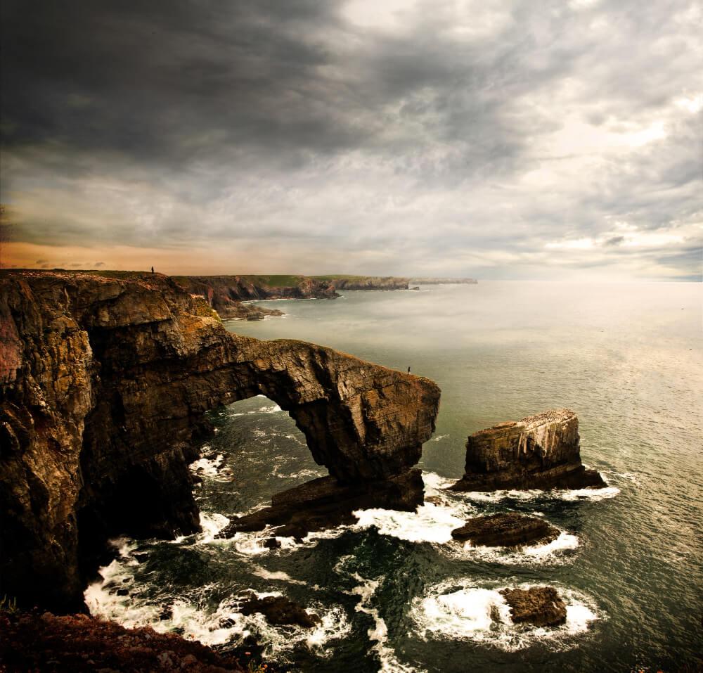 Green Bridge Rock - Beautiful coastline in Wales, United Kingdom